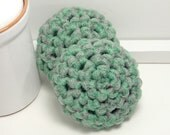 Reusable Dish Scrubbers - Grey & Green Scouring Pads - Handmade Scrubbies - Set of 2