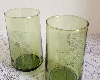 Set of 2 Sleek Stackable Green Drinking Glasses