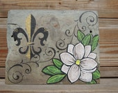 Fleur de lis and Magnolia on Recycled New Orleans Roofing Slate