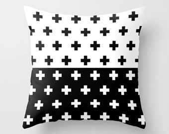 36 colours, Swiss Cross Half Half YIN YANG Pattern Pillow, Union pattern, Black White, Plus sign decor, Faux Down Insert, Indoor or Outdoor