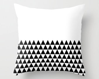36 colours, Geometric Triangles Half Print Pattern Decorative Pillow, Black and white pillow, Faux Down Insert, Indoor or Outdoor cover