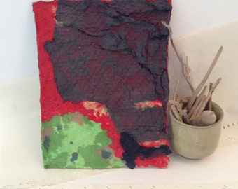 Contemporary Handmade Paper - Pulp Painting - lavascape - original art - Handmade paper-  Hawaii - recycled acid free archival paper