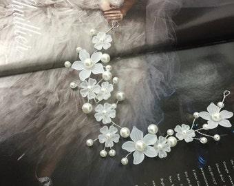 Tiara Bridal Headband pearls flowers , Headband, pearl bridal Headband, Wedding Accesorio, Jewel headband accessory,Bridal hair accessory