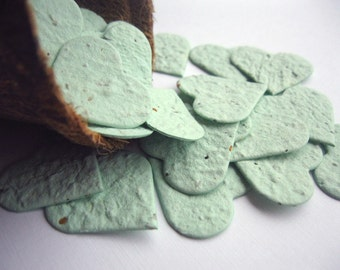 Plantable Seed Paper Hearts Confetti - 100 Count - Sage Green - Eco Friendly,  Wedding Favors, Bridal Showers, Cards & Crafts