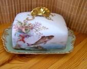 """Antique 1800's """"T &V FRANCE"""" Butter Tray Set Ligomes France Rare Find"""