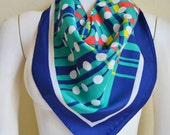 Vintage Fabulous Mod Polyester Scarf 1960's Abstract Circles Blue Green Pink