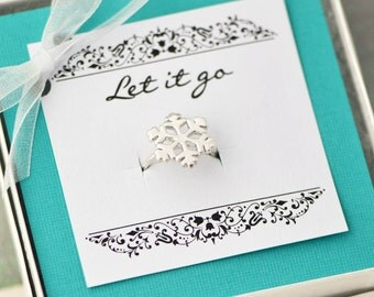 Snowflake Ring w/ Gift Box, Sterling Silver Snowflake Jewelry, Christmas Ring, Christmas Gift, Sterling Snowflake, Gift For Her