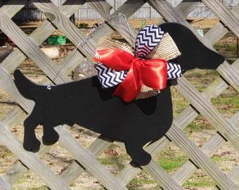 Dachshund Door Hanger, Dog Door Hanger, Doxie Door Hanger, Pets, Silhouette Door Hanger