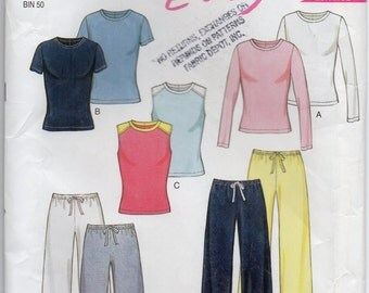 Sleeveless Stretch Knit Top With Long Or Short Sleeves And Pants Size 8 10 12 14 16 18 Sewing Pattern New Look 6160 Plus Size