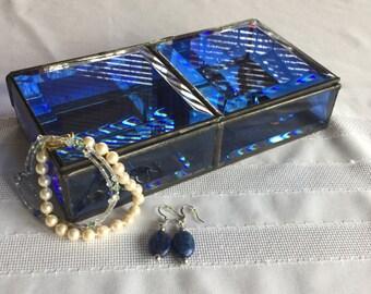 Deep violet blue beveled glass box 8 x 4 1/4 x 1 3/4