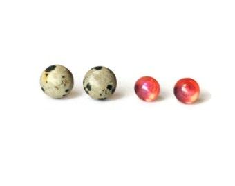 Stud Earrings Set Opal and Stone