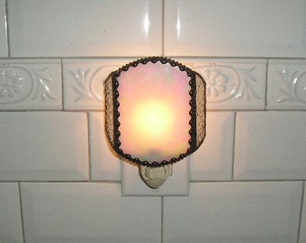 Stained Glass Nightlight|Elegant Nightlight|Home & Living|Lighting|Night Lights|White|Antique Beaded Finish|Handcrafted|Made in USA