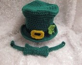 Leprechaun Shamrock Baby Hat with Green Bow Tie - St Patrick's Day  Irish Photo Prop - made to order -  Knit Crochet -