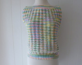 60's Baby Pastel Knit Top Candy Colored Sweater M L