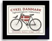 Danish Decor, Bicycle Art, Denmark Art, Copenhagen Bike Art, Cycling Art, Bicyclist Art, Bike Enthusiast, Danmark Flag Bike Rider