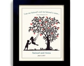Wedding Bible Verse - Personalized Wedding Gift  - Religious Wedding Gift - Gifts for Couples - Engagement Gifts Heart Tree Silhouette art