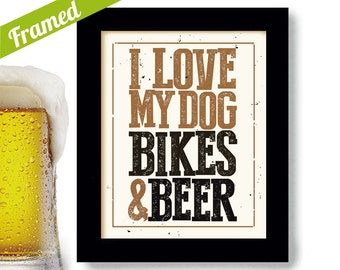 Dog Lover Framed Art Bicycle Art Beer Art Cycling Art Motorcycle Rider Dog Breeds Craft Beer Sign for Bar Bicyclist