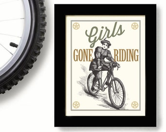 Woman's Bicycle Art Cycling Team Bike Print Girls Riding Bicycle Race Female Cyclist Riding a Bike