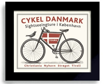 Danish Modern Decor Bicycle Art Denmark Art Copenhagen Bike Art Print Cycling Theme Bicyclist Art Bike Enthusiast Danmark Flag Bike Rider