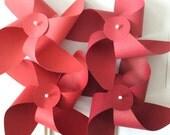 Red Pinwheels- Any Shade Set of 6.