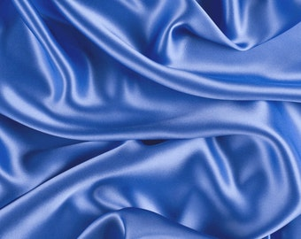 "42"" Wide Stretch Silk Charmeuse Periwinkle Blue By the Yard"