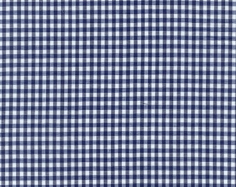 "60"" Wide Gingham 1/8 Inch Check Navy Blue By the Yard"