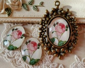 2 Pieces of 18 x 25 mm Oval Shape Flower Photo Glass Cameo Cabochons (G) ( .au)