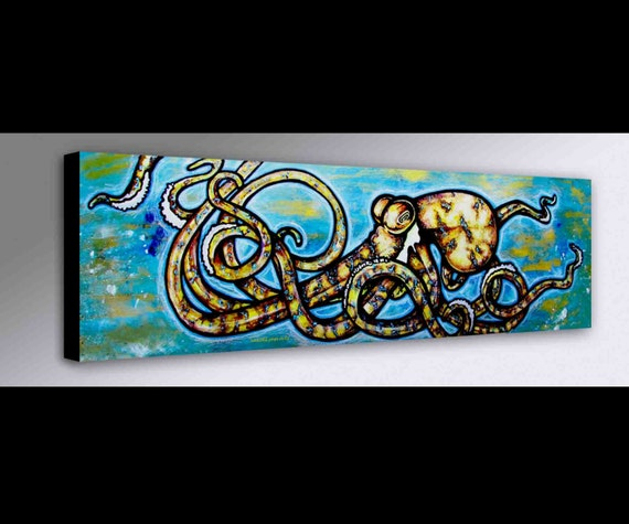 Blue Ring Octopus Painting Octopus Art Sealife Painting