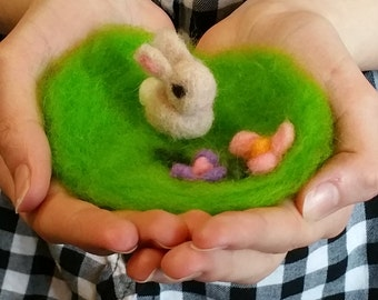 Needle Felted Baby Bunny With Grass Patch, Easter Bunny, Handmade, Rabbit