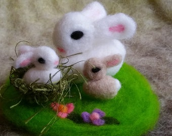 Easter Bunny, Needle Felted Baby Bunny With Grass Patch, Bunny, Handmade, Rabbit, Gift