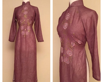 Japanese Asian Dress with Side Slits Sheer Rose Pink Purple Embroidered Flowers and Hand Painted Decoration Size Medium Large
