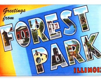 Greetings from Forest Park Illinois Fridge Magnet