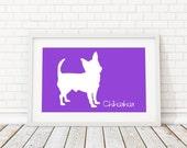 Chihuahua Silhouette Modern Dog Print - Custom Wall Art, Personalized Dog Print, Modern Dog Home Decor, Dog Portrait, Dog Art, Dog Lovers