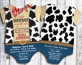 Cowboy Western Onesie Baby Shower Invitation - set of 25