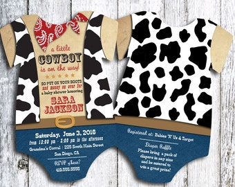 Cowboy Western Baby Shower Invitation - set of 25