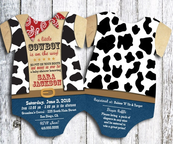 cowboy western baby shower invitation set of 25,