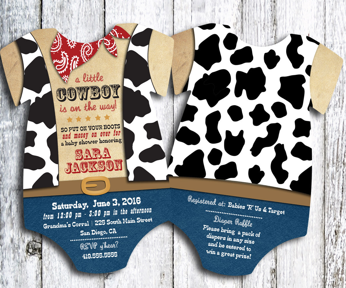 cowboy western baby shower invitation set of 25