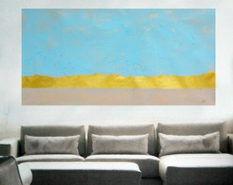 Abstract painting, Large wall art, peaceful home decor, Light Blue and Gold art on canvas, Large gold and blue painting, custom art