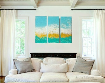 Triptych Art Painting, Large wall art, Painting on 3 piece wall art, Turquoise Blue Gold Painting, large contemporary art