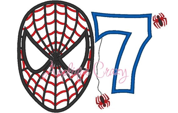 Spiderman with the Number 7 Applique design