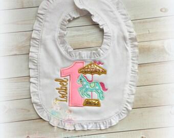 Carousel Ruffle Bib - First Birthday Bib - Baby Girls 1st Birthday - Pink, Gold, mint carousel - Custom embroidered baby girl bib
