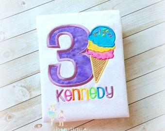 Ice Cream Cone Birthday Shirt- Custom Embroidery- Purple- Rainbow Ice Cream- Cone with Sprinkles