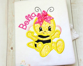 Bumblee shirt for girls - personalized embroidered bumblebee shirt - bumble bee shirt - cute bumblebee shirt or bodysuit for girls