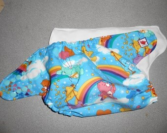 Full One Size Care Bears and Rainbows Pocket Diaper