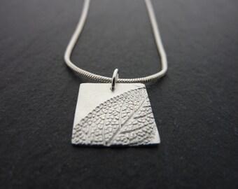Silver Leaf Pattern Square Pendant - Fine Silver Leaf Necklace, Free UK Postage