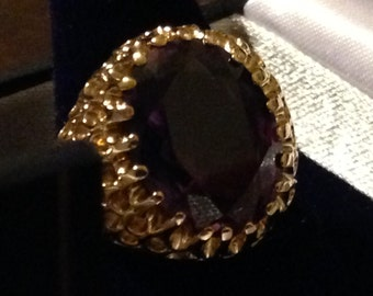 CLEARANCE!!!!!   Gorgeous Vintage 14K Synthetic Alexandrite Ring