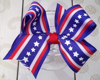 Girls hair bow Patriotic bow, patriotic hair clip, ponytail bow 4th of July bow, July 4th hair bow red white and blue bow, american flag bow