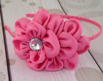 Headband, poof headband, pink poof headband, rhinestone headband, pretty headbands, birthday headband, photo prop headband
