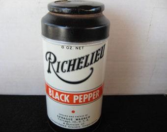 Richelieu 8 OZ Black Pepper Tin Sprague Warner Chicago Consolidated grocers