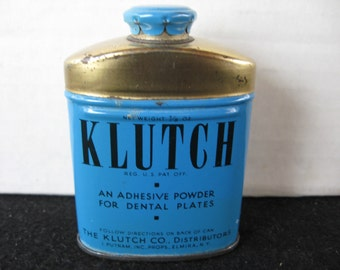 Vintage Advertising~ KLUTCH~ Tooth Powder Tin~sample sized~